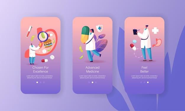 Gastro-enterologie geneeskunde mobiele app-paginasjabloon.