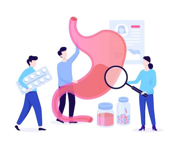 Gastro-enterologie webbanner concept. idee van gezondheidszorg en maagbehandeling. arts onderzoekt inwendig orgaan. illustratie in cartoon-stijl