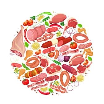 Gastronomische vleesproducten met groenten en kruiden ronde sjabloon voor spandoek