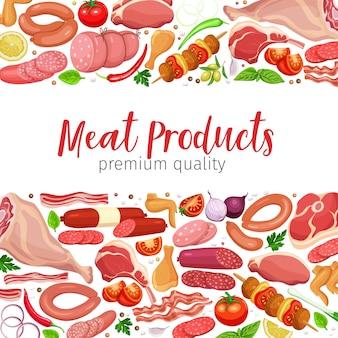 Gastronomische vleesproducten met paginasjabloon groenten en kruiden