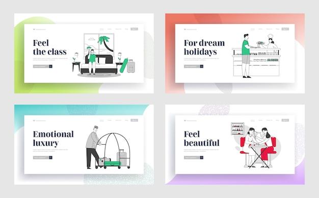 Gastvrijheid en schoonheidssalon service website bestemmingspagina-set