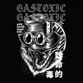Gasvergiftigend zwart en wit