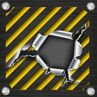 Gat in metaal. vector illustratie Premium Vector