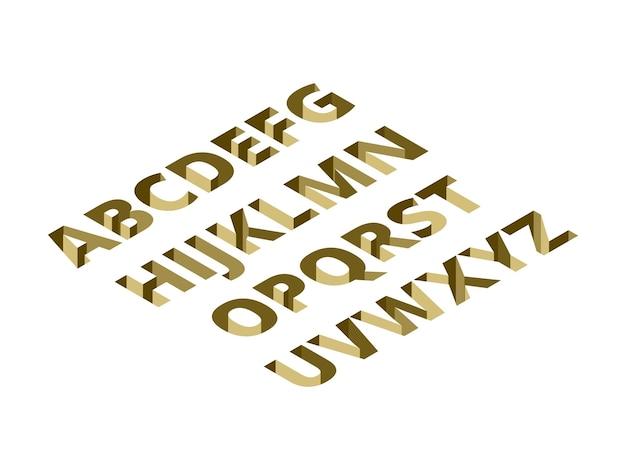 Gat lettertype isometrische ontwerp illustratie