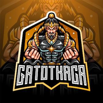 Gatotkaca esport mascotte logo ontwerp