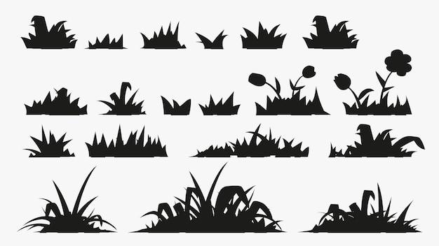 Gazon gras in verschillende silhouetten in set geïsoleerd