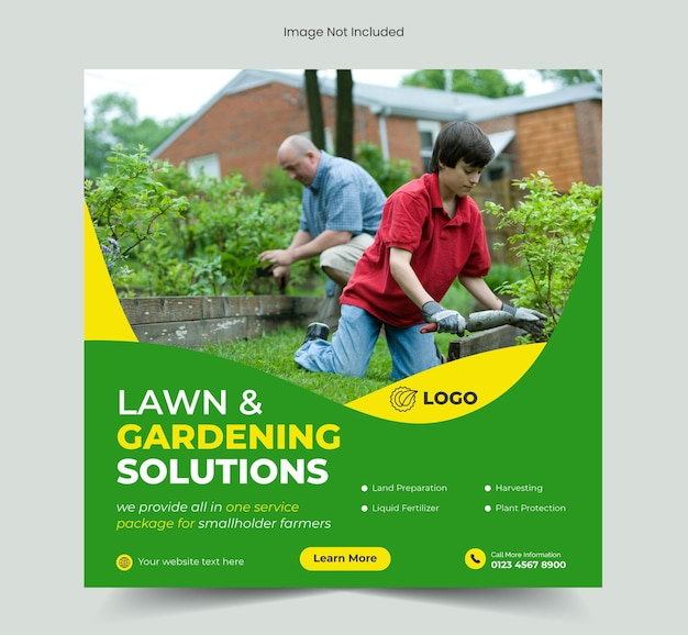 Gazontuinoplossingen of landbouwservice social media post en webbannersjabloon