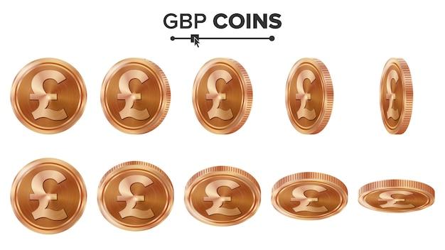 Gbp 3d koperen munten
