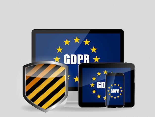 Gdpr - algemene verordening gegevensbescherming achtergrond. illustratie