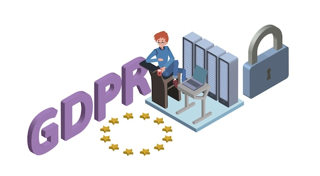 Gdpr concept isometrische illustratie. algemene verordening gegevensbescherming. de bescherming van persoonlijke gegevens. , geïsoleerd op een witte achtergrond.