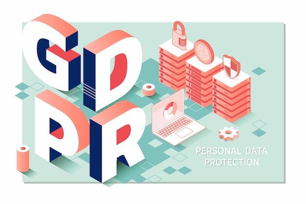 Gdpr. verordening gegevensbescherming. cyberbeveiliging en privacy