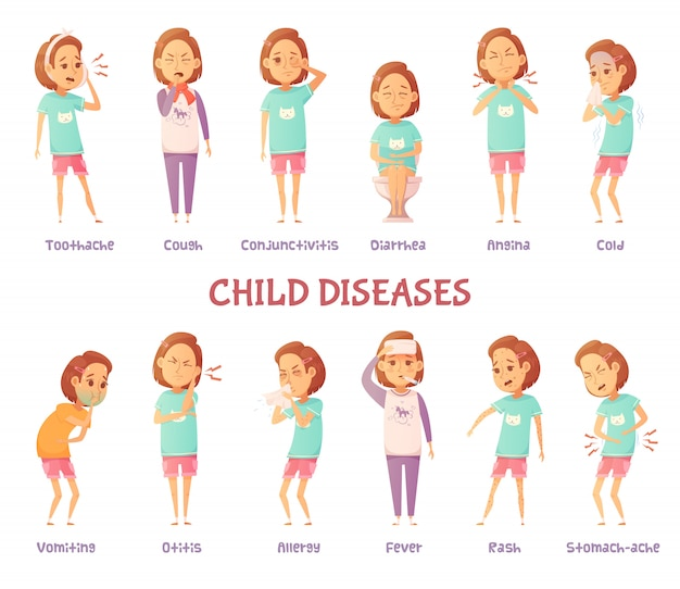 Geã¯soleerde tekens instellen met cartoon meisje angstig voor verschillende kindziekte symptomen
