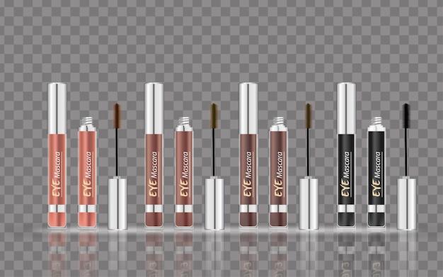 Gealistische vector 4 kleuren mascara fles borstel en mascara buis cosmetica make-up voor ogen