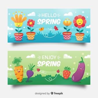 Geanimeerde elementen lente verkoop banner