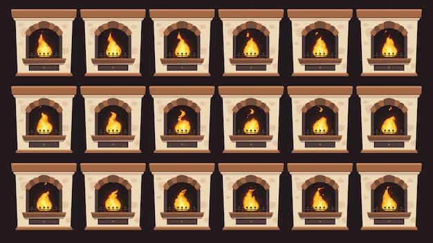 Geanimeerde vuur in open haard