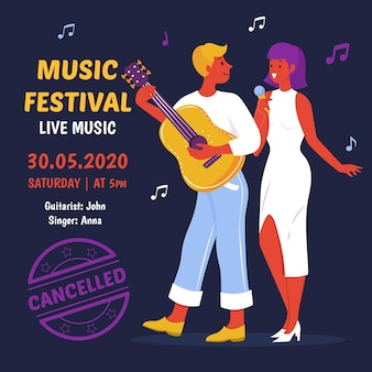 Geannuleerd concept van muzikale evenementen