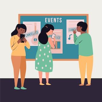 Geannuleerde evenementen aankondiging concept