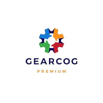 Gear cog cogs logo icon template kleurrijk