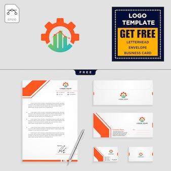 Gear, en zakelijke grafiek logo sjabloon en briefpapier ontwerp
