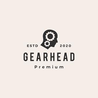Gear hoofd hipster vintage logo pictogram illustratie