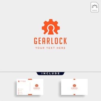 Gear lock logo ontwerp beschermen industrie vector pictogram geïsoleerd