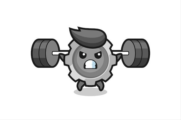 Gear mascotte cartoon met een barbell, schattig stijlontwerp voor t-shirt, sticker, logo-element