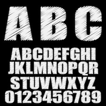 Gearceerd lettertype. alfabet lettertype. typ letters en cijfers.