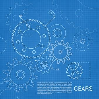 Gears geschetst in een blauwdruk