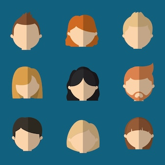 Geassorteerde anonieme mensen hoofden pictogramafbeelding