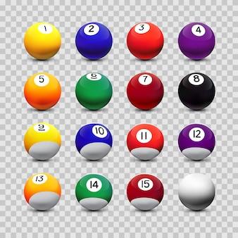 Geassorteerde biljartballen geïsoleerd op transparante achtergrond
