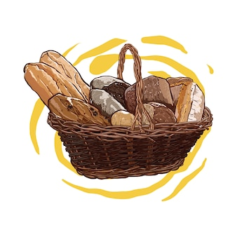 Geassorteerde brood in een rotanmand