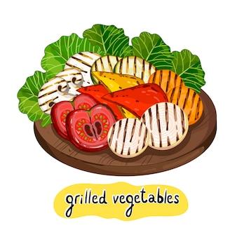 Geassorteerde heerlijke gegrilde groente