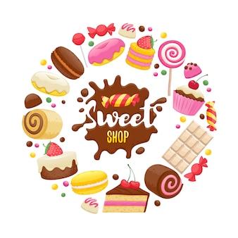 Geassorteerde snoepjes kleurrijke achtergrond