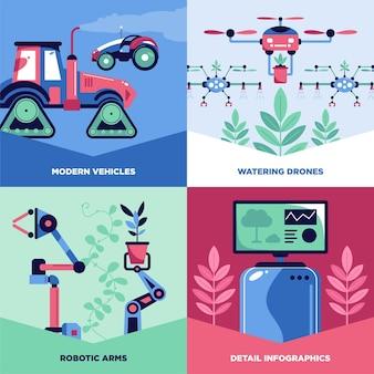Geautomatiseerd slim tuinontwerpconcept met reeks vierkante banners met tekstbijschriften en technologie