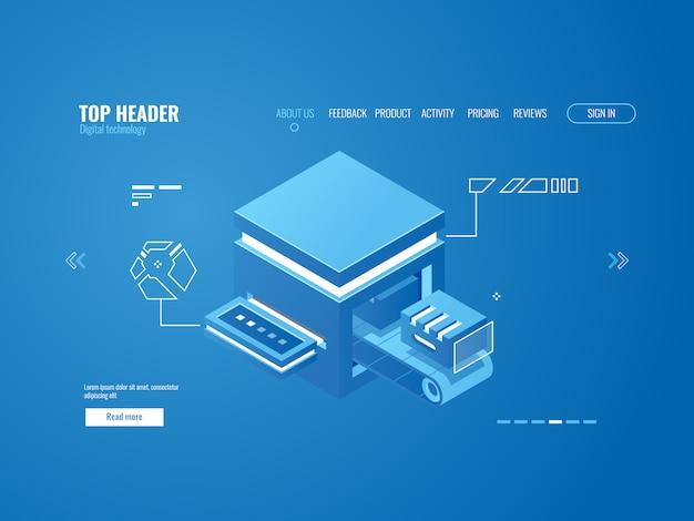 Geautomatiseerde fabrieksassemblagelijn, productieband, cloudopslag