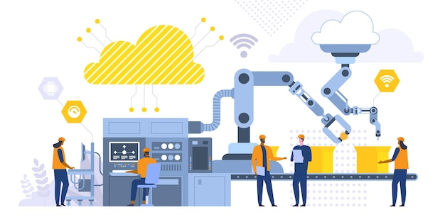 Geautomatiseerde productie platte vectorillustratie. fabrieksarbeiders, ingenieur die werkt met computer stripfiguren. productieproces, high-tech machines. industriële revolutie concept