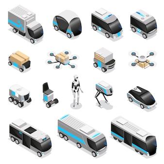 Geautomatiseerde robotaflevering isometrische pictogrammeninzameling met leuke op afstand bestuurde humanoïde viervoudige drone onbemande voertuigenillustratie