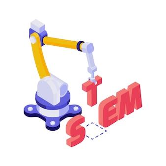 Geautomatiseerde robotarm die woordstam in 3d isometrische illustratie van het onderwijsconcept bouwen