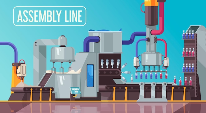 Geautomatiseerde robotverpakkingsflessen transportbandsamenstelling met bewerkbare tekst en manipulatoren die drankdranken bottelen