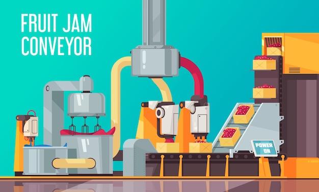 Geautomatiseerde robotvruchtentransportbandsamenstelling met tekst en weergave van industriële faciliteitslijn voor het produceren van zoetwaren