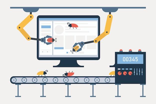 Geautomatiseerde softwaretests en kwaliteitsborging. transportband voor het opsporen van bugs en defecten