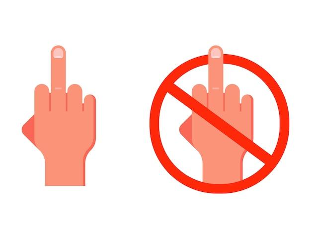 Gebaar middelvinger omhoog. verbod op vloeken.