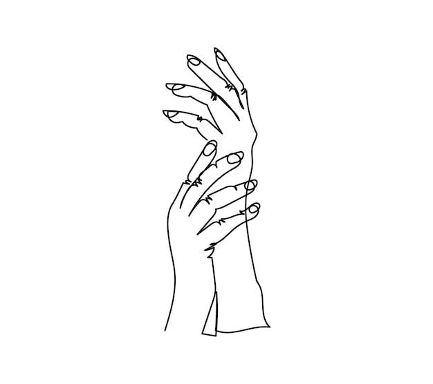 Gebaar van vrouwelijke handen één lijntekening doorlopende lijntekening van zachte handshow manicure