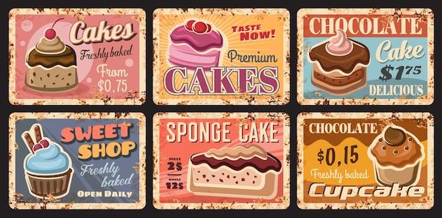 Gebak cake desserts metalen roestige platen