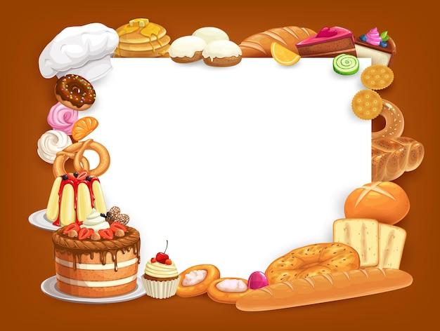 Gebak en bakkerij voedsel framerand