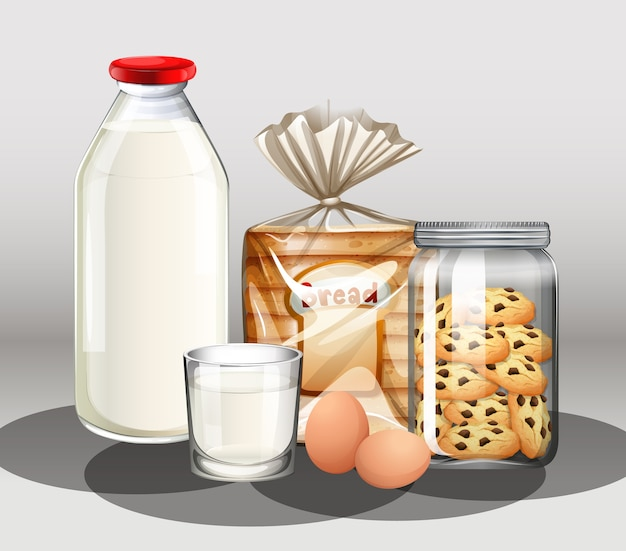 Gebak met een fles melk en twee eieren in een groep