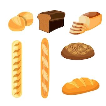 Gebakken broodproducten tarwe, roggebrood, bagels, gesneden brood toast.