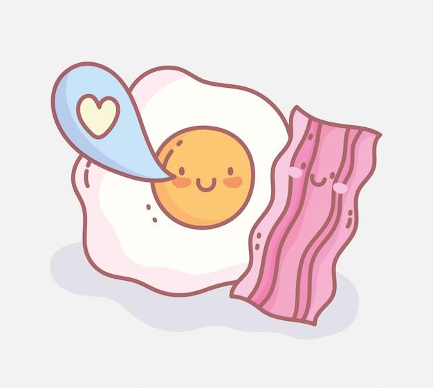 Gebakken ei bacon liefde bubble menu restaurant cartoon eten eten leuk