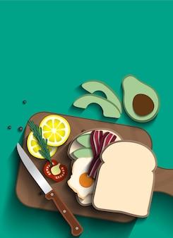 Gebakken ei en spekbroodjes bovenaanzicht