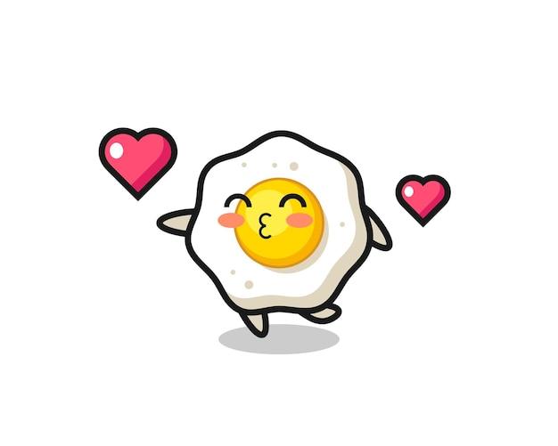 Gebakken ei karakter cartoon met kussend gebaar, schattig stijlontwerp voor t-shirt, sticker, logo-element